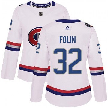 Authentic Adidas Women's Christian Folin Montreal Canadiens 2017 100 Classic Jersey - White